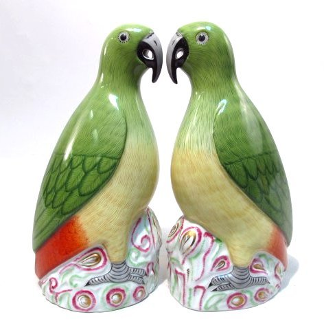 BELLONI LANLO FOR HEREND: PAIR OF PORCELAIN PARROTS