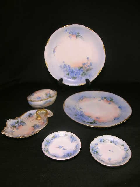 3: LIMOGES HAND PAINTED DRESSER TRAY TRINKET BOX