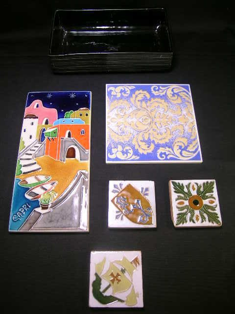 24: GROUP ASST HAND PAINTED TILES 1 SIGNED CAPRI