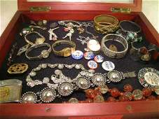 134: GROUP JEWELRY POLITICAL PINS BRACELETS WATCHES ETC