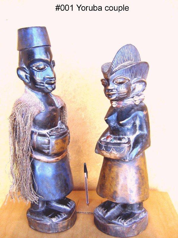 801: YORUBA COUPLE STATUETTES, YORUBA TRIBE NIGERIA