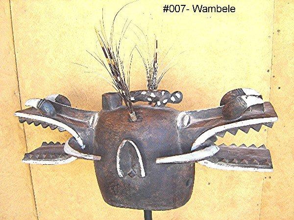 803: WAMBELE MASK FROM THE SENUFO TRIBE IVORY COAST