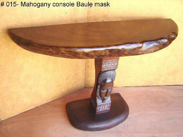 """806: RICH AFRICAN 4"""" THICK MAHOGANY CONSOLE."""
