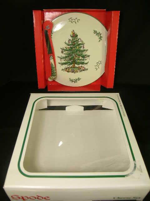 401: SPODE CHRISTMAS TREE CHEESE KNIFE SET BOXED
