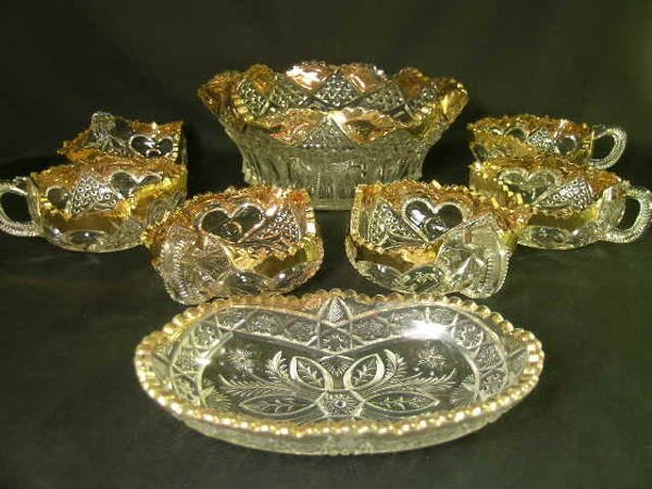 402: PRESSED PATTERN GLASS DECORATED BOWL GROUP 7pcs