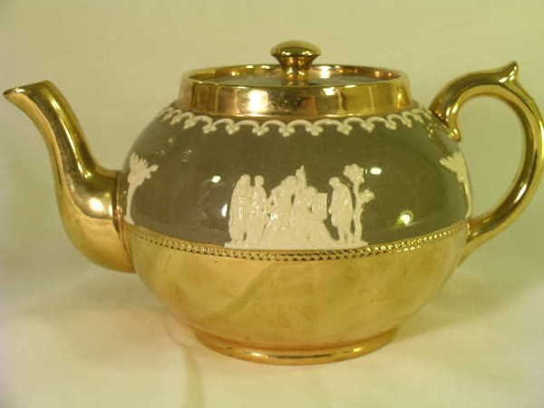 406: GIBSONS COPPER LUSTER GREEN FLORAL POTTERY TEA POT