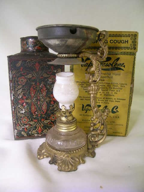 407: ANTIQUE ATOMIZER WHOOPING COUGH TIN COCOA CAN 2 PC