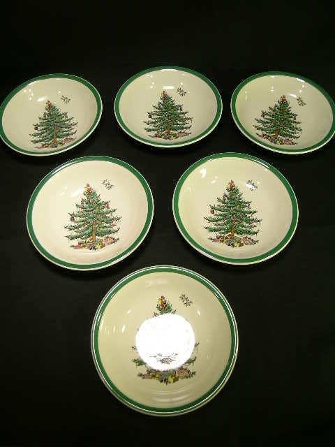 413: SPODE CHRISTMAS TREE DESSERT CEREAL BOWLS 6 PCS