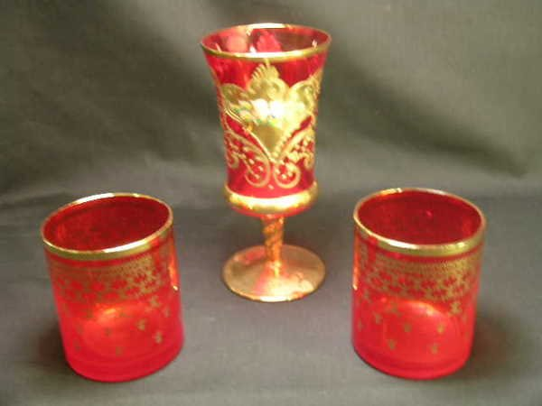 414: MURANO CRYSTAL CRANBERRY GLASS HAND PAINTED GILT 3