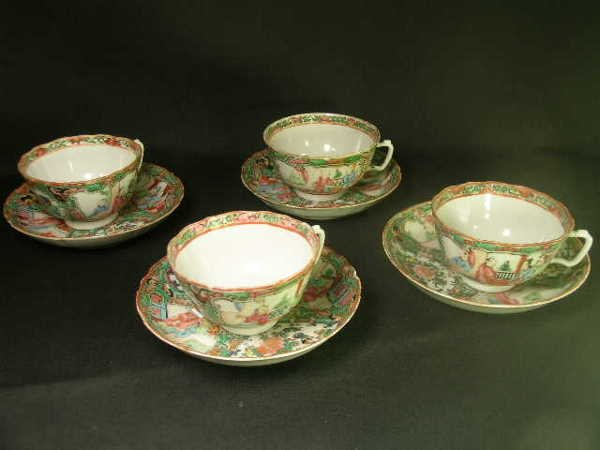 420: ROSE MEDALLION CHINESE CUPS SAUCERS 4 SETS