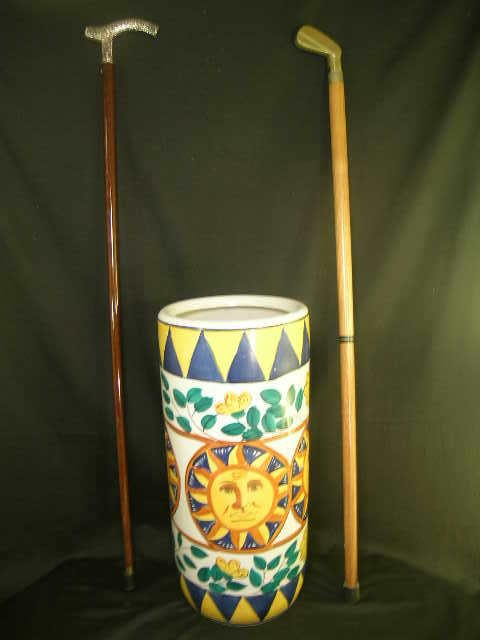 423: CANE STERLING SILVER HANDLE POTTERY CANE STAND +