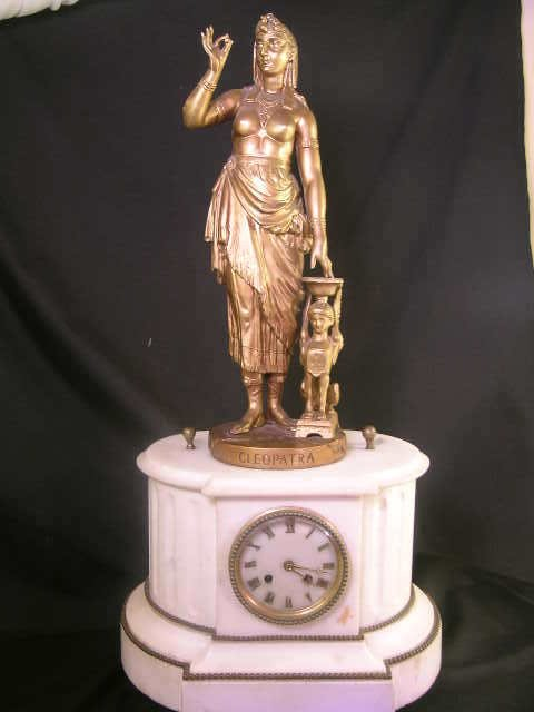 492: FRENCH MARBLE FIGURAL MANTLE CLOCK CLEOPATRA