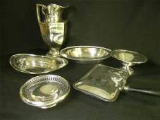 655 STERLING SILVER  SILVER PLATE SERVING PIECES 6pcs