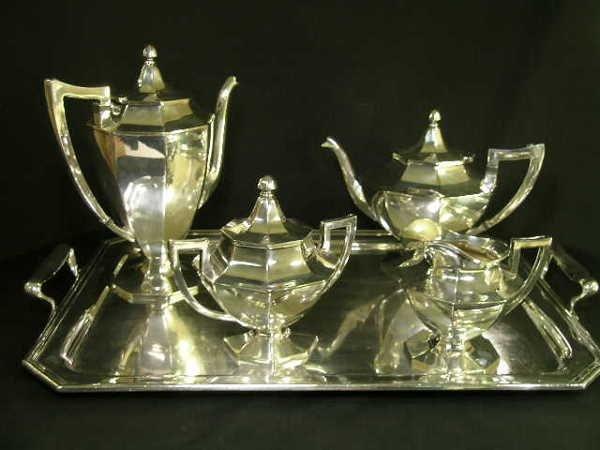 664: FIVE PC WILCOX SILVER PLATE COFFEE TEA SET