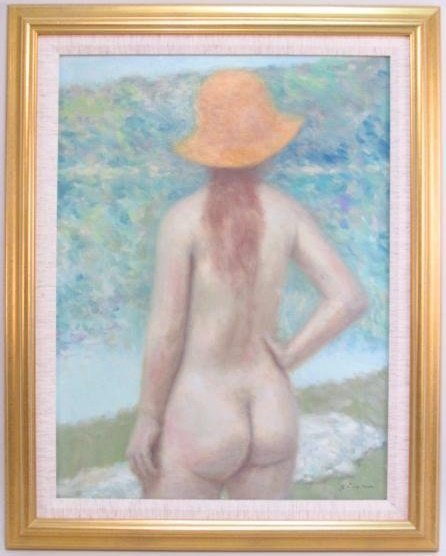 ANDRE GISSON : STANDING NUDE IN AN ORANGE HAT