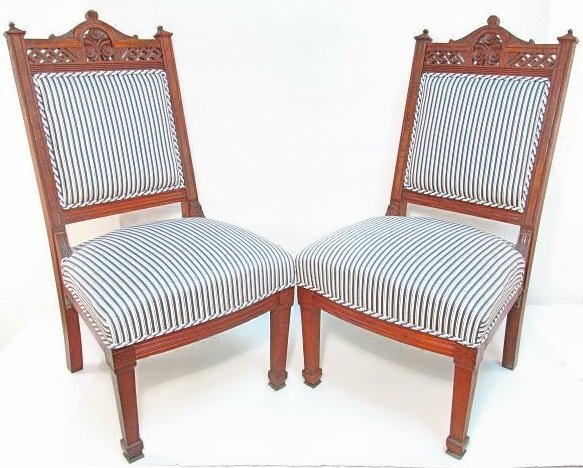 PAIR BURLED WALNUT ENGLISH AESTHETIC SIDE CHAIRS