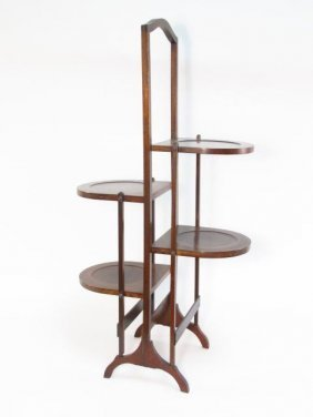 INLAID MAHOGANY FOLDING PIE RACK OR STAND