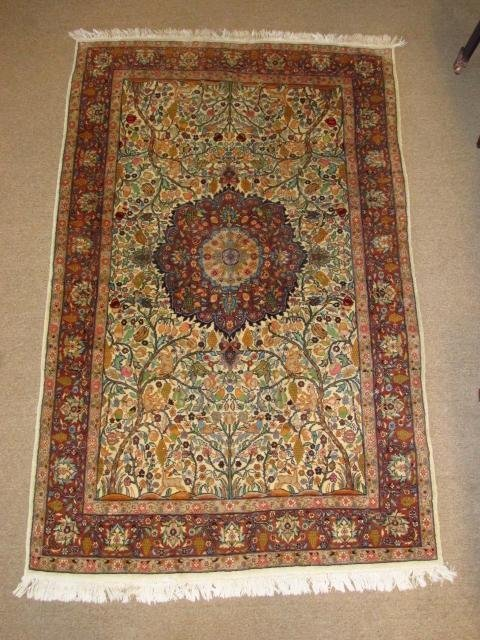 """PERSIAN KASHAN HAND KNOTTED WOOL RUG - 4'8"""" X 7'4"""""""