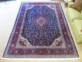 """LARGE RED & BLUE HAND KNOTTED WOOL RUG - 9' x 12'4"""""""