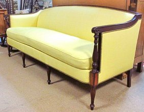 HICKORY CHAIR INLAID FEDERAL STYLE YELLOW SILK SOFA