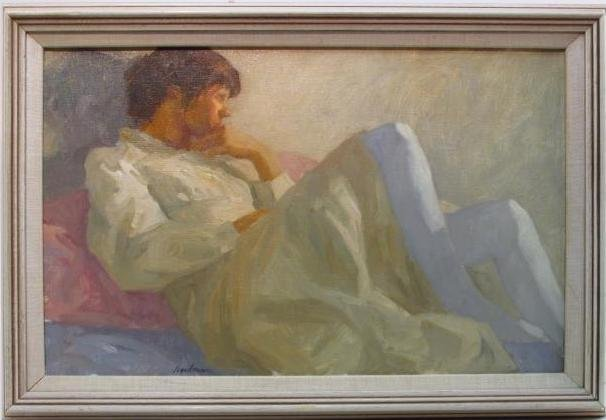 "RICHARD SEGALMAN OIL ON CANVAS PAINTING: ""WHITE"