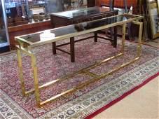 BRASS & GLASS SOFA OR HALL TABLE
