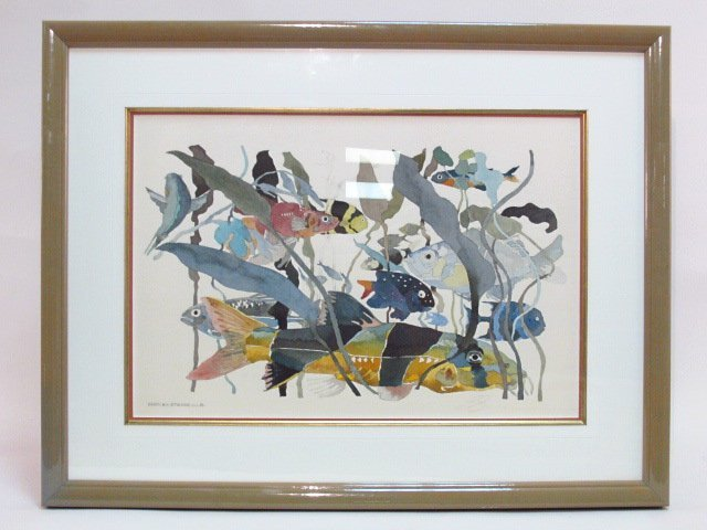 ERROL H.R. ETIENNE AQUATIC FISH WATERCOLOR PAINTING ON