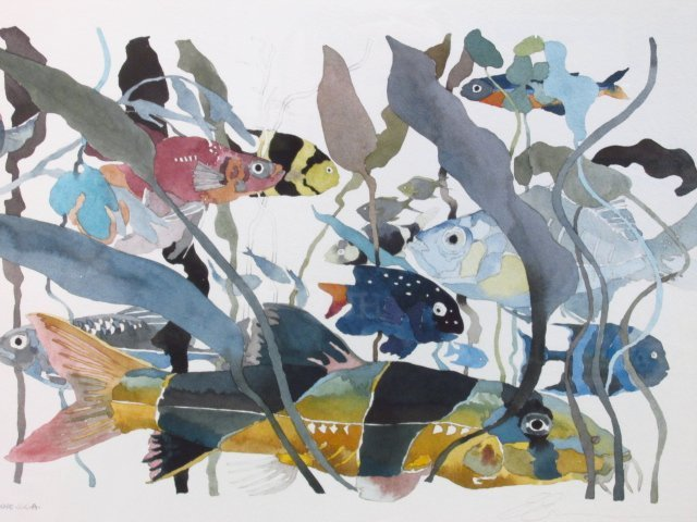 ERROL H.R. ETIENNE AQUATIC FISH WATERCOLOR PAINTING ON - 2