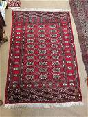 HAND KNOTTED ORIENTAL WOOL RUG  BOKHARA 41 x 61