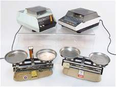 FOUR VINTAGE WEIGHT SCALES SCIENTECH  OHAUS