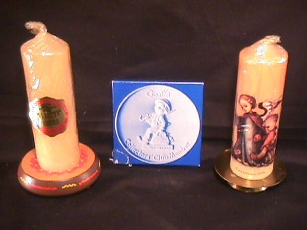 1013: HUMMEL COLLECTOR CLUB PLAQUE CANDLES STANDS