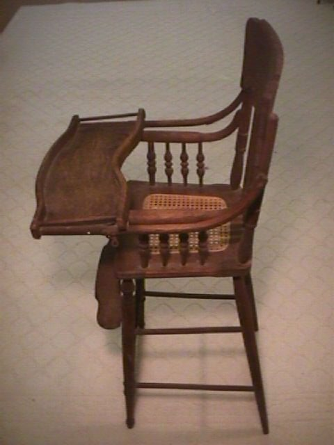 1044: ANTIQUE VICTORIAN TIGER OAK CANE SEAT HIGH CHAIR