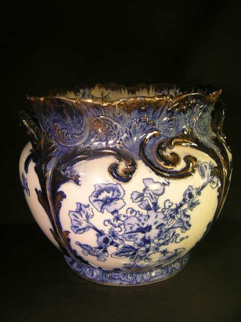 3: ANTIQUE FLOW BLUE PORCELAIN CACHE POT