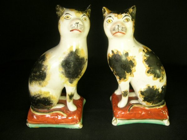 4: PR ANTIQUE STAFFORDSHIRE CALICO CATS C 1850