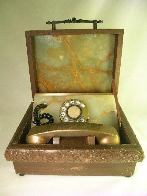 6: OLD ROTARY ITT TELEPHONE ALABASTER & WOOD BOX