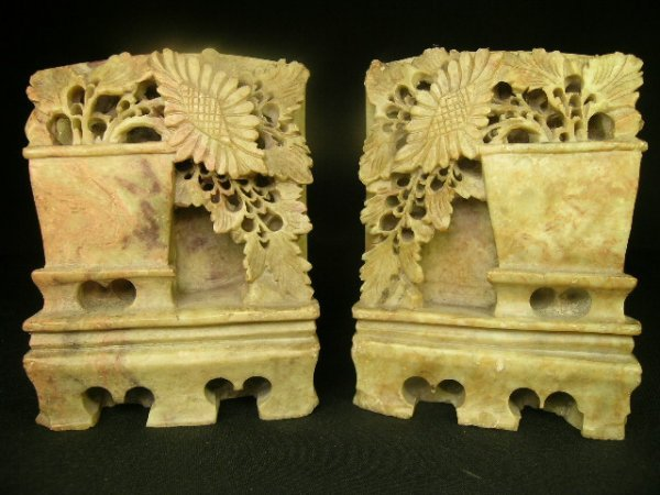 9: PAIR CHINESE CARVED SOAPSTONE BOOKENDS