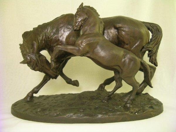 13: 20TH CENTURY BRONZE SCULPTURE HORSES MARE & COLT