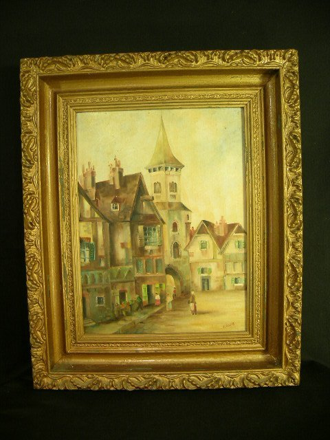 18: OIL on BOARD PAINTING F PHILLIPS TOWN SCENE