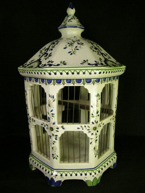 24: ITALIAN BASSANO FAIENCE FLORAL BIRD CAGE