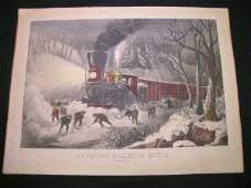398 CURRIER  IVES LITHOGRAPH AMERICAN RAILROAD GREAT