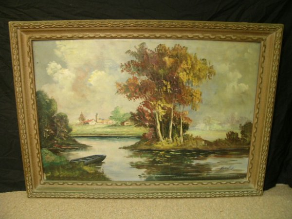 515: OLD OIL ON CANVAS PAINTING POND VILLAGE SIGNED