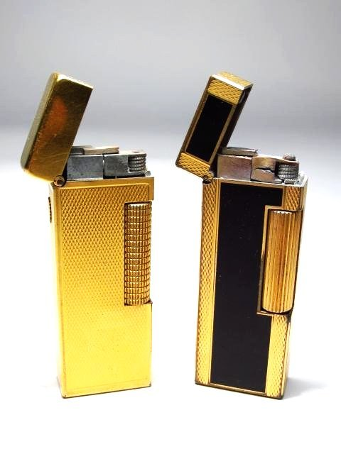 TWO VINTAGE SWISS DUNHILL GAS LIGHTERS - GOLD TONE