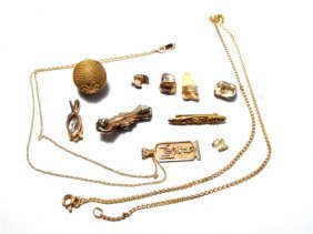 ASSORTED 14K GOLD, GOLD FILLED AND OTHER JEWELRY, ETC.