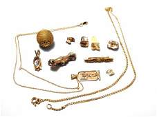 ASSORTED 14K GOLD GOLD FILLED AND OTHER JEWELRY ETC