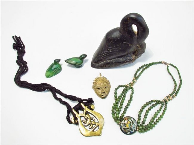 ASSORTED TRIBAL STYLE JEWELRY, JADE, CARVINGS, ETC.