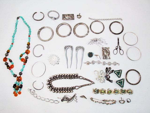 STERLING & SILVER TONED JEWELRY: TAXCO, HANS HANSEN,