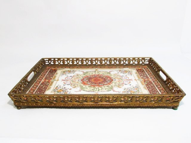 CASTILIAN HEAVY BRONZE MOUNTED PORCELAIN SERVING TRAY
