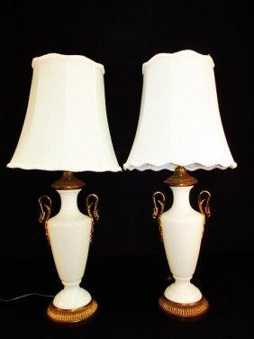 PAIR PAUL HANSON AMPHORA STYLE OPALINE GLASS LAMPS