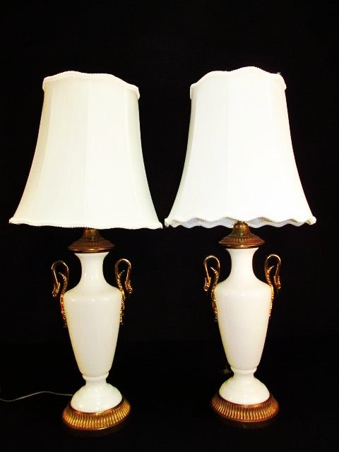 PAIR PAUL HANSON AMPHORA STYLE OPALINE GLASS LAMPS