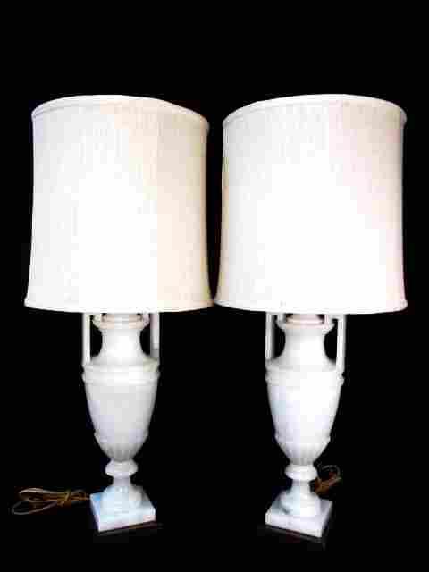 PAIR VINTAGE CARVED ALABASTER URN FORM TABLE LAMPS